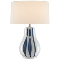 Currey & Company 6000-0460 Trace 26 inch 150 watt White/Blue Table Lamp Portable Light