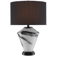 Currey & Company 6000-0466 McNally 25 inch 150 watt White/Black/Glossy Black Table Lamp Portable Light
