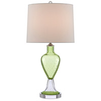 Currey & Company 6000-0470 Tessa 28 inch 150 watt Grass Green/Clear/Polished Nickel Table Lamp Portable Light