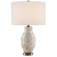 Currey & Company 6000-0474 Imbricate 27 inch 150 watt Pearl/Antique Brass Table Lamp Portable Light