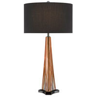 Currey & Company 6000-0476 Raquel 33 inch 150 watt Amber/Polished Nickel/Black Table Lamp Portable Light