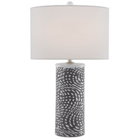 Currey & Company 6000-0485 Abel 30 inch 150 watt Concrete/White/Silver Granello Table Lamp Portable Light
