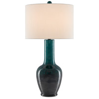 Currey & Company 6000-0486 Kelsini 32 inch 150 watt Teal/Graphite/Satin Black Table Lamp Portable Light