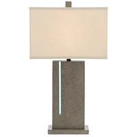 Currey & Company 6000-0490 Watson 32 inch 150 watt Polished Concrete/Aqua/Satin Black Table Lamp Portable Light