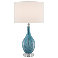 Currey & Company 6000-0497 Lupo 31 inch 150 watt Blue/Clear/Polished Nickel Table Lamp Portable Light