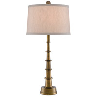 Currey & Company 6000-0510 Auger 25 inch 100 watt Antique Brass Table Lamp Portable Light Small