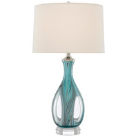 Currey & Company 6000-0520 Eudoxia 31 inch 150 watt Blue/Clear/Polished Nickel Table Lamp Portable Light