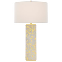 Currey & Company 6000-0524 Sundew 31 inch 150 watt Gold Hair on Hide/Brushed Brass Table Lamp Portable Light