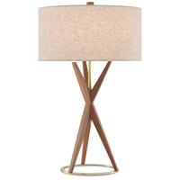 Currey & Company 6000-0547 Variation 28 inch 75 watt Teak/Brushed Brass Table Lamp Portable Light