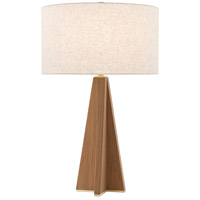 Currey & Company 6000-0548 Virtuosa 31 inch 150 watt Teak/Brushed Brass Table Lamp Portable Light