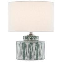 Currey & Company 6000-0553 Purslane 17 inch 75 watt Green/White/Satin Nickel Table Lamp Portable Light
