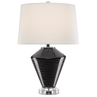 Currey & Company 6000-0576 Posy 26 inch 150 watt Black/Clear/Polished Nickel Table Lamp Portable Light
