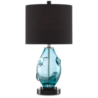 Currey & Company 6000-0577 Aquaviva 22 inch 75 watt Aqua/Black/Polished Nickel Table Lamp Portable Light