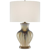 Currey & Company 6000-0580 Muscadine 27 inch 150 watt Cream/Brown/Antique Brass Table Lamp Portable Light