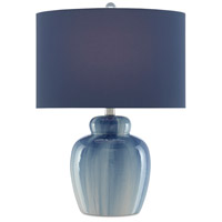 Currey & Company 6000-0583 Saine 21 inch 75 watt Blue/White/Polished Nickel Table Lamp Portable Light