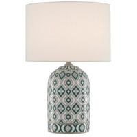 Currey & Company 6000-0586 Aubri 25 inch 150 watt Blue Green/Gray/White/Satin Nickel Table Lamp Portable Light