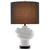 Currey & Company 6000-0587 Farina 34 inch 150.00 watt Gesso White/Matte Black Table Lamp Portable Light
