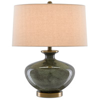 Currey & Company 6000-0601 Greenlea 21 inch 150.00 watt Dark Gray/Moss Green/Antique Brass Table Lamp Portable Light