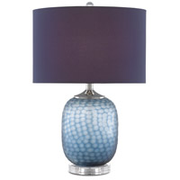 Currey & Company 6000-0607 Ionian 24 inch 150.00 watt Ocean Blue/Polished Nickel/Clear Table Lamp Portable Light