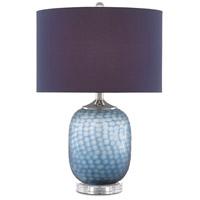 Currey & Company 6000-0607 Ionian 24 inch 150.00 watt Ocean Blue/Polished Nickel/Clear Table Lamp Portable Light