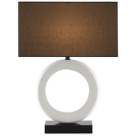 Currey & Company 6000-0608 Kirkos 27 inch 150.00 watt Gesso White/Glossy Black Table Lamp Portable Light
