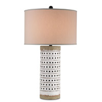 Currey & Company Terrace 1 Light Table Lamp in Antique White Crackle and Satin Black 6002