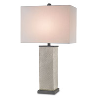 Currey & Company Reed 1 Light Table Lamp in Gray and Black Bronze 6023