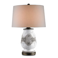 Currey & Company Snowmelt 1 Light Table Lamp in Dirty Silver Antique White Crackle 6025