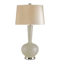 Currey & Company Altair 1 Light Table Lamp in White Blown Glass/Nickel 6032