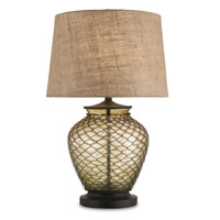 Currey & Company Weekend 1 Light Table Lamp in Amber Rust 6037