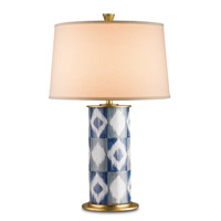 Currey & Company Patterson 1 Light Table Lamp in Blue Gray and White 6043