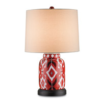 Currey & Company Safari 1 Light Table Lamp in Red with White and Black Pattern 6046