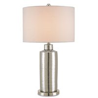 Calypso 30 inch 150 watt Nickel and Silver Table Lamp Portable Light