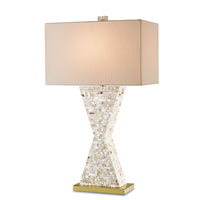 Currey & Company Humoresque 1 Light Table Lamp in Hammer White Brick cut Shell Laminated 6058