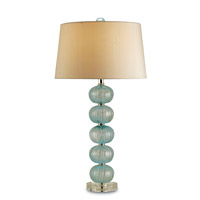 Currey & Company Asturias 1 Light Table Lamp in Aqua/Gold Blown Glass/Clear 6071