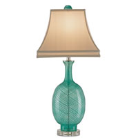 Currey & Company Artois 1 Light Table Lamp in Aqua Blown Glass/Clear 6074