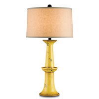 Currey & Company Windowbox 1 Light Table Lamp in Antique Yellow and Distressed Black 6076