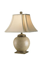 Currey & Company Secret 1 Light Table Lamp in Beige/ Green/ Brass 6081 photo thumbnail