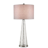 Currey & Company Hydra 1 Light Table Lamp in Weaved Clear and Satin Nickel 6093