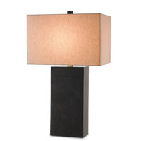 Currey & Company Sergei 1 Light Table Lamp in Black Penshell Crackle Laminated and Brass 6094