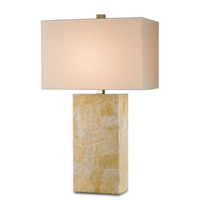 Currey & Company Nikolai 1 Light Table Lamp in Crystal Stone Laminated and Brass 6095