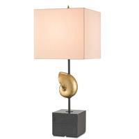 Currey & Company Nautilus 1 Light Table Lamp in Contemporary Gold Leaf / Black with Honey Beige Shantung 6123