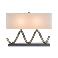 Currey & Company Maximus 2 Light Table Lamp in Pyrite Bronze / Black with Eggshell Linen 6136