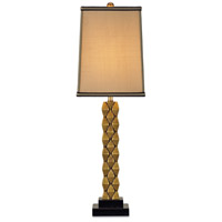 Debonair 30 inch 100 watt Antique Brass/Black Table Lamp Portable Light