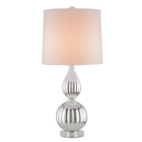 Currey & Company Yasmine 1 Light Table Lamp in Contemporary Silver Leaf and Clear 6155