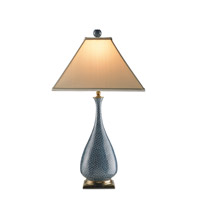 Courtship 28 inch 100 watt Blue/ Black/ Brass Table Lamp Portable Light