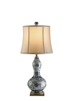 Currey & Company Attraction 1 Light Table Lamp in White/ Blue/ Brass 6170
