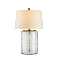 Oscar 25 inch 150 watt Clear Glass/Brass Table Lamp Portable Light