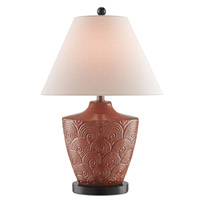 Currey & Company Jester 1 Light Table Lamp in Autumn Copper with Vanilla Linen 6205