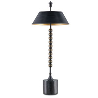 Currey & Company Hapsburg 2 Light Table Lamp in French Black / Contemporary Gold Leaf / Black 6219